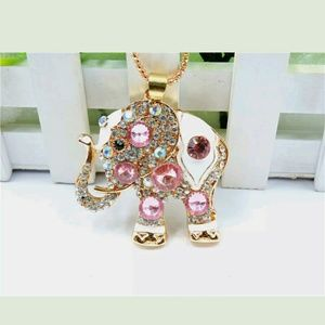 Gorgeous Pink Elephant Sweater Necklace